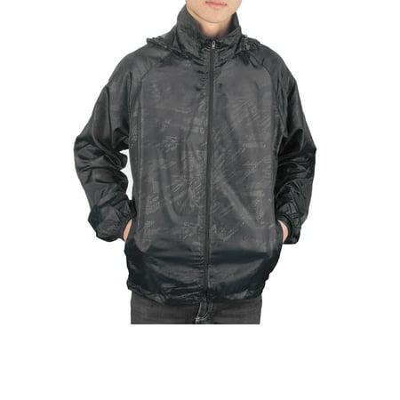 (SAYFUT Men Zip up Sportswear Windbreaker  Packable Jacket Sport Casual Lightweight Hooded Outdoor Jacket Color Black L-3XL)