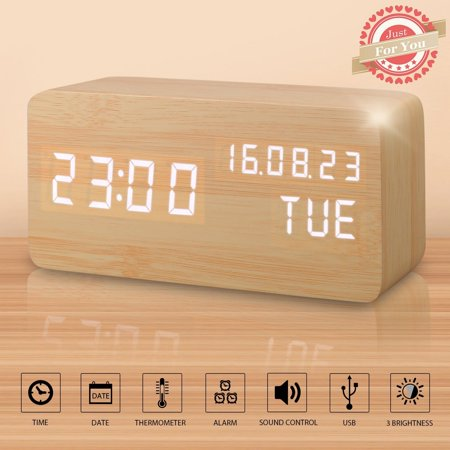 Wooden LED Alarm Digital Desk Clock 3 Levels Adjustable Brightness, 3 Groups of Alarm Time, Displays Time Date Temperature USB - Bamboo (White Light)](Date Of Halloween 2017 Usa)