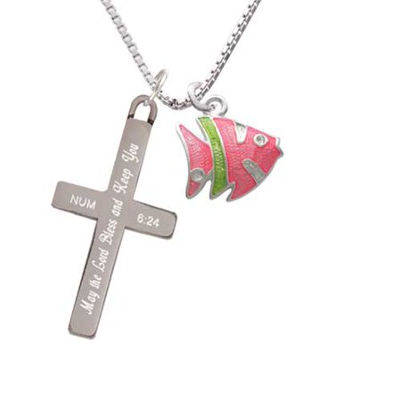 Keeping Tropical Fish - Silvertone Hot Pink Tropical Fish with Lime Green Stripe - Bless and Keep You - Cross Necklace