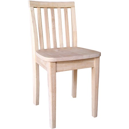 International Concepts Slat Back Chair, Set of 2, Unfinished by