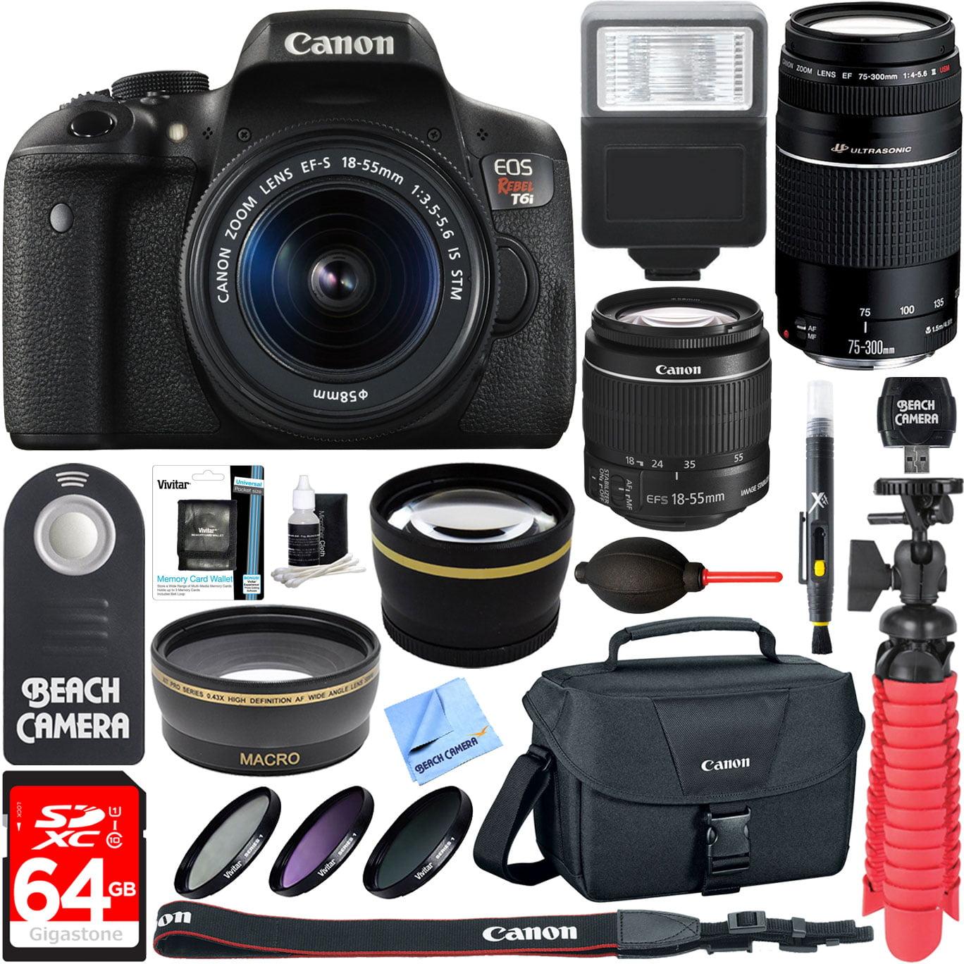 Canon T6i EOS Rebel DSLR Camera w/ EF-S 18-55mm & 75-300