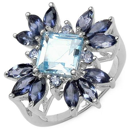Genuine Square Blue Topaz, Iolite and Tanzanite Ring in Sterling Silver - Size 6.00 ()
