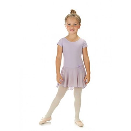 Elowel Girls' Ruffle Short Sleeve Skirted Leotard Lavender (size-4-6 ) - Girls Leotard