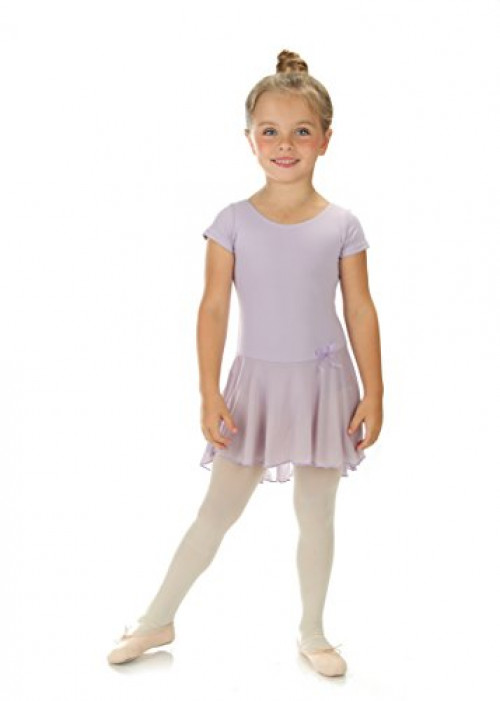 Elowel Girls' Ruffle Short Sleeve Skirted Leotard Lavender (size-4-6 )