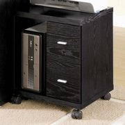 Coaster Russell 2 Drawer Printer Stand in Black Oak and Silver