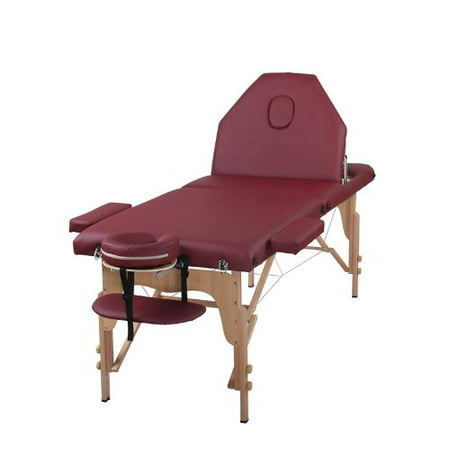 The Best Massage Table 3 Fold Burgundy Reiki Portable Massage Table - PU Leather w/ Free