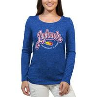 Kansas Jayhawks Funky Script Women'S/Juniors Team Long Sleeve Scoop Neck Shirt