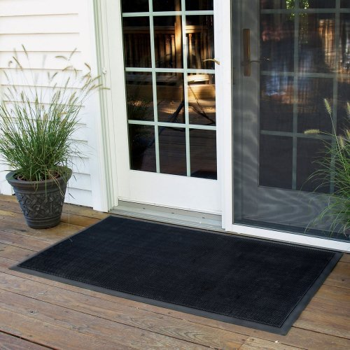 NoTrax Rubber Brush Outdoor Rug - Black