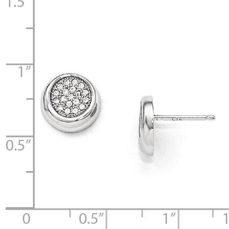 Sterling Silver & CZ Brilliant Embers Circle Post Earrings QMP205 - image 1 of 2