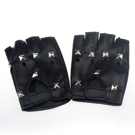 Theatrical Punk Hip-hop PU Black Half-finger Leather Gloves Square (Nails Gloves)
