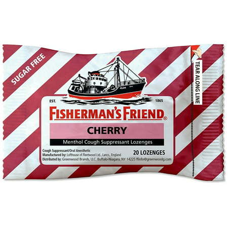 Fisherman's Friend Sugar Free Cherry Menthol Drops Cough Suppressant Lozenges, 20 Count (Sugar Free Lozenges)