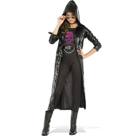 Black Goth Girls Biker Coat Matrix Set Child Halloween Costume