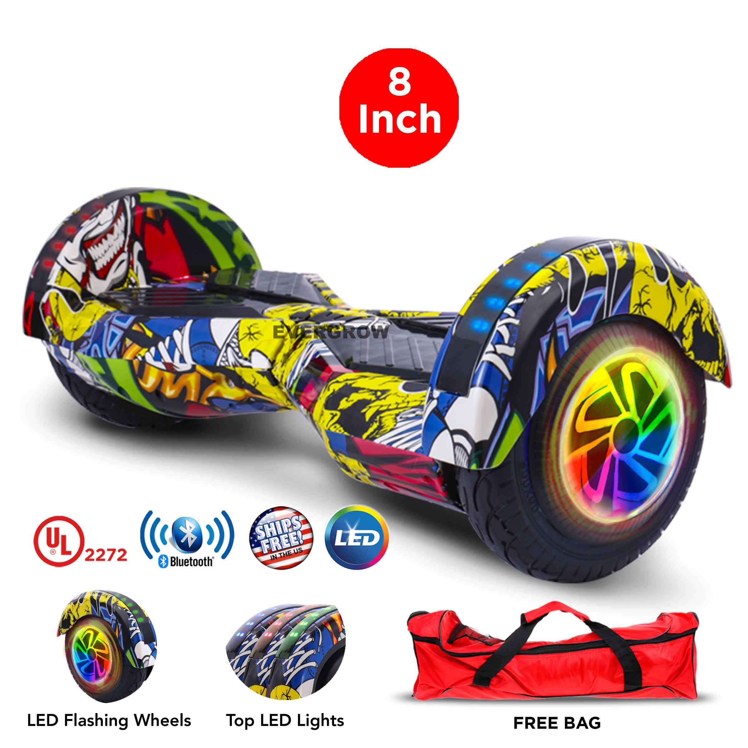 """Bag + UL 2272 Certified 6.5"""" Hoverboard Bluetooth Speaker LED 2 Wheel Smart Electric Self Balancing Scooter  (WHEELS-UC6.5-CAMO)"""