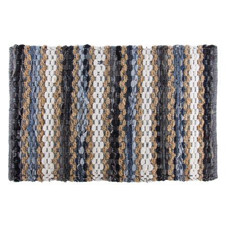 Recycled Jute (chindi 2x3 variegated area rag rug recycled blue cotton denim jute woven)