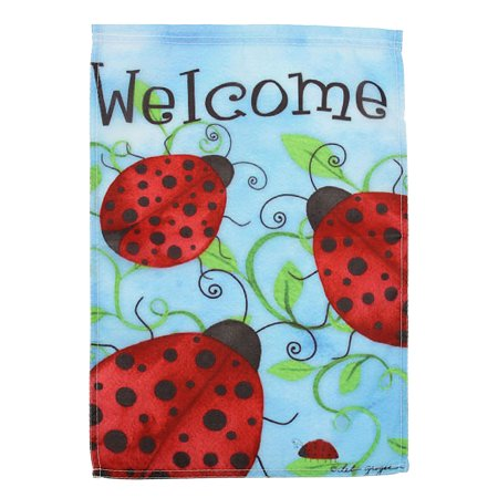 12X18'' Ladybirds Welcome Garden Flags Yard Banner Holiday House Decoration Christmas Decor ()