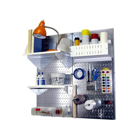 Wall Control Pegboard Hobby Craft Pegboard Organizer Storage Kit with Metallic Pegboard and White