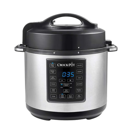 Crock-Pot 6 Qt 8-in-1 Multi-Use Express Crock Programmable Slow Cooker, Pressure Cooker, Saute, and Steamer, Stainless Steel (SCCPPC600-V1)