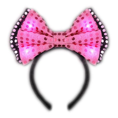 Blinkee LSPBTH-PK LED Pink Sequin Bow Tie Headband