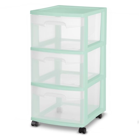 Sterilite, 3 Drawer Cart, Classic Mint, Case of