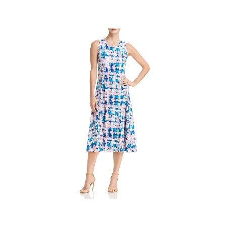 Donna Karan Womens Tie-Dye Sleeveless Midi Dress Maternity Sleeveless Tie