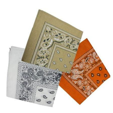 100% Cotton Double Sided Print Paisley Bandana Scarf, Head Wrap - 3 Colors - Kahki, Orange, White - 22