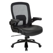 Big and Tall Deluxe Mesh Back Black Bonded Leather Executive Chair with Adjustable Padded Flip Arms
