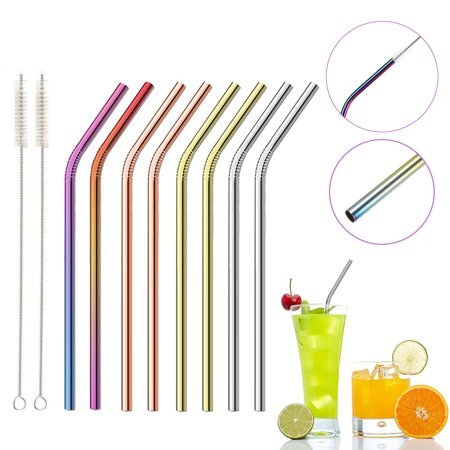 8 PCS Curved Straws Reusable Rainbow Premium Stainless Steel Metal Drinking Straw Straws w/2PCS Cleaning Brush - Eco Friendly, SAFE, NON-TOXIC For Smoothie Drink Shakes - image 1 of 6