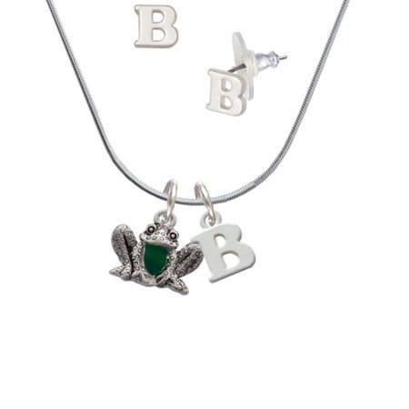 Frog Jewelry - Frog Front - B Initial Charm Necklace and Stud Earrings Jewelry Set