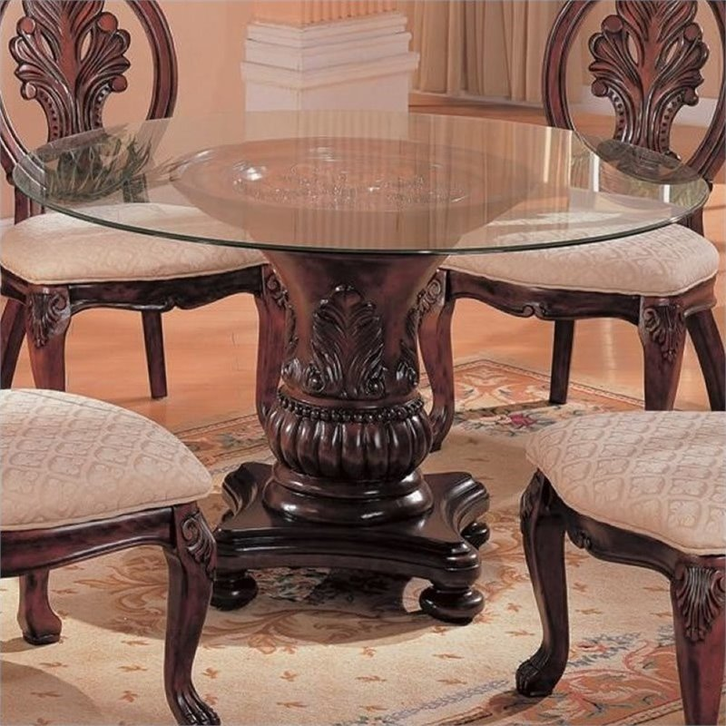 "Bowery Hill 42"" Round Glass Top Dining Table in Dark Cherry"