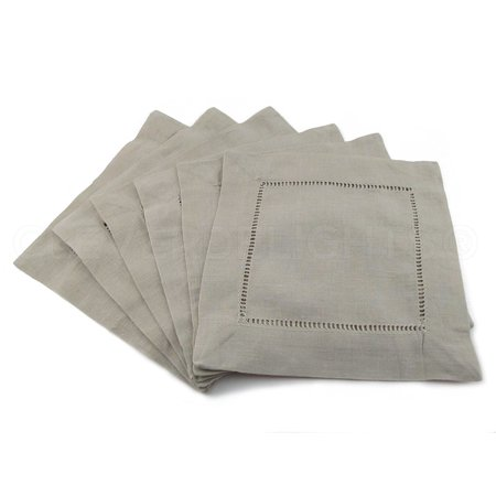 12 Pack - CleverDelights Stone Hemstitch Cocktail Napkins - 6