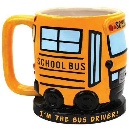 Halloween Coffee Ideas (I'm The School Bus Driver Sculpted Ceramic Coffee Mug - Great Fun Gift)