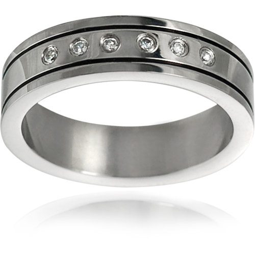 Daxx Men's CZ Stainless Steel Wedding Band, 6mm