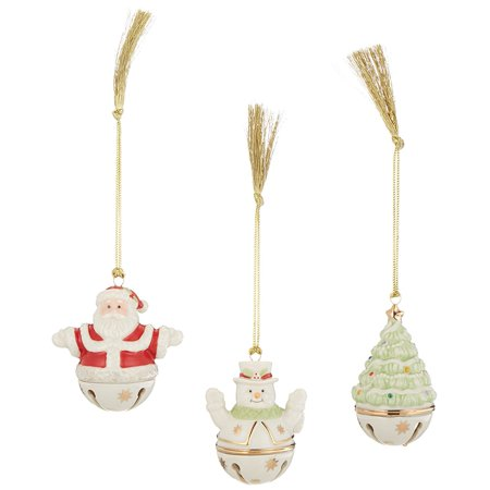 Figural Sleigh Bells Ornaments, Set of 3, Crafted of hand painted porcelain By