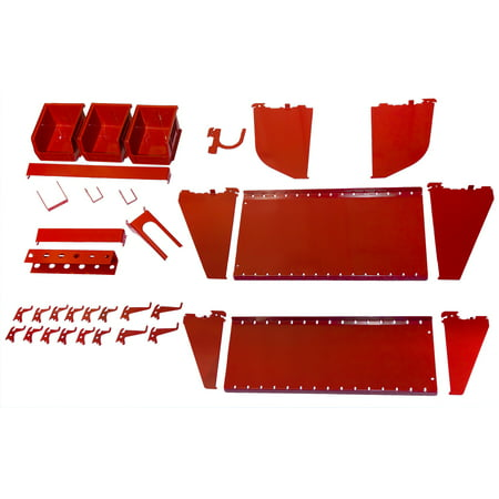 Slotwall Accessory - Wall Control Slotted Tool Board Workstation Accessory Kit for Wall Control Pegboard and Slotted Tool Board Only – Red