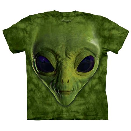 Green 100% Cotton Green Alien Face Graphic T-Shirt - Printed Alien Face