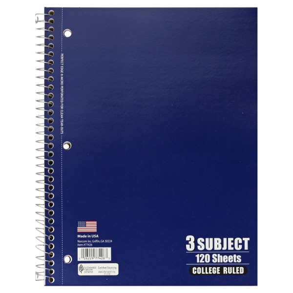 3 Subject Notebook, College Ruled, 120 Sheet, 5pc
