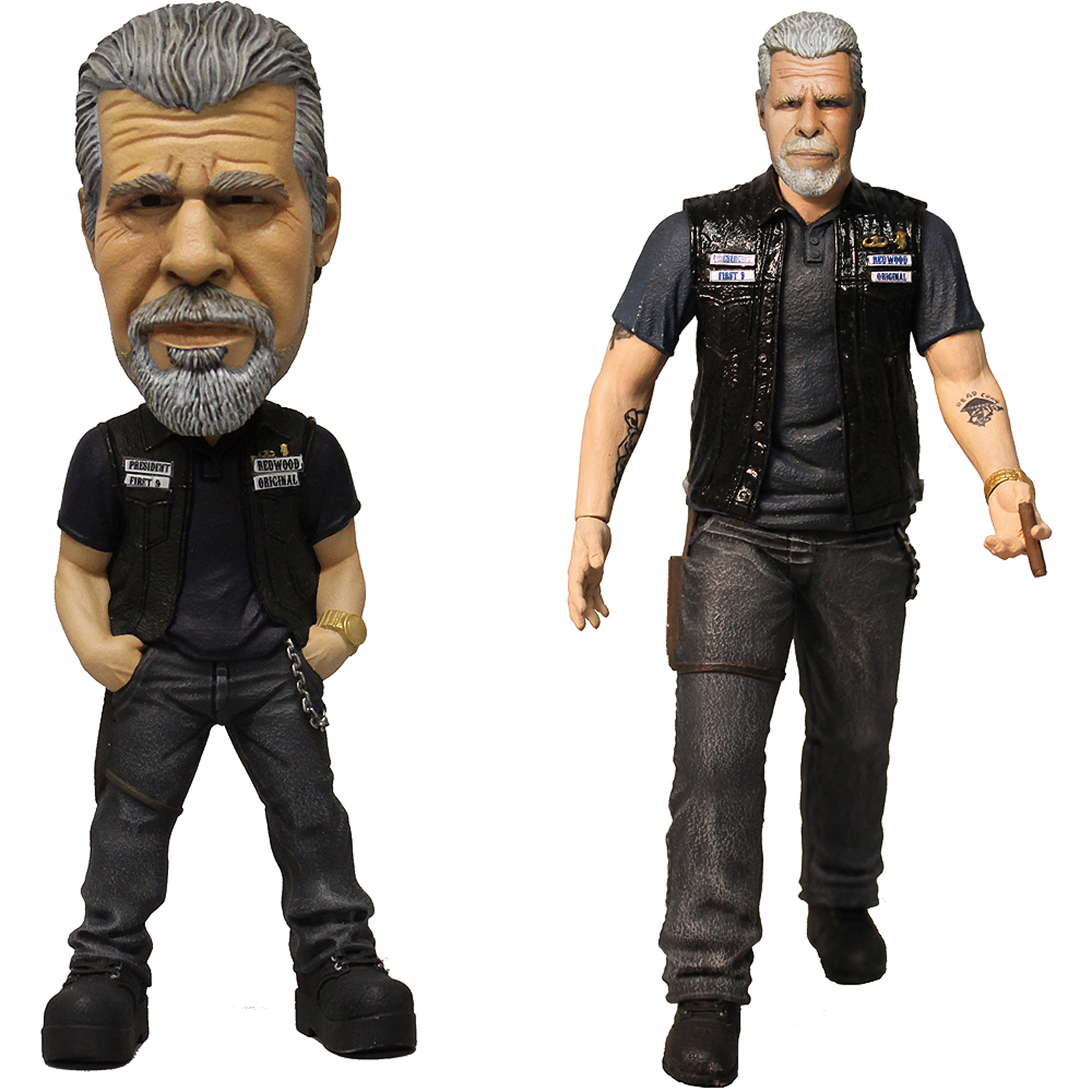 "Mezco Toys Sons of Anarchy: Clay Action Figure and Clay 6"" Bobblehead Bundle"