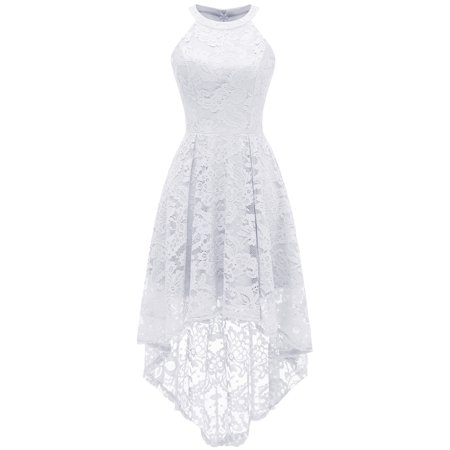 Bagail Women's Halter Hi-Lo Floral Lace Dress Asymmetrical Cocktail Dress Sleeveless Bridesmaid Formal Party Wedding Guest Swing Dress
