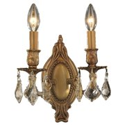 "Worldwide Lighting W233019 French Gold / Golden Teak Crystal Windsor 2 Light 9"" Wide Wall"