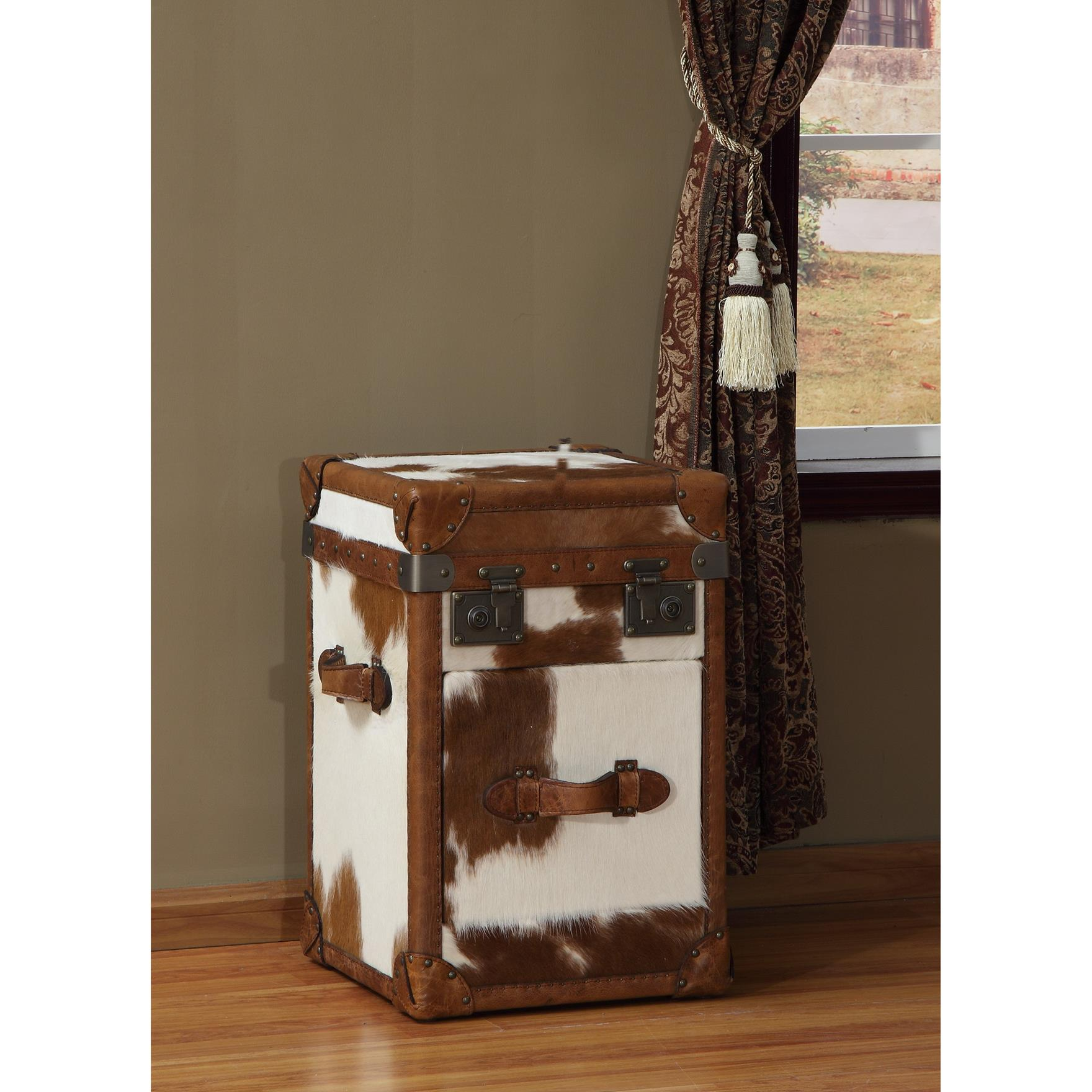 Lazzaro Caledonia Leather 1 Drawer Steamer Side Table in Longhorn Brown Cow & Caramel