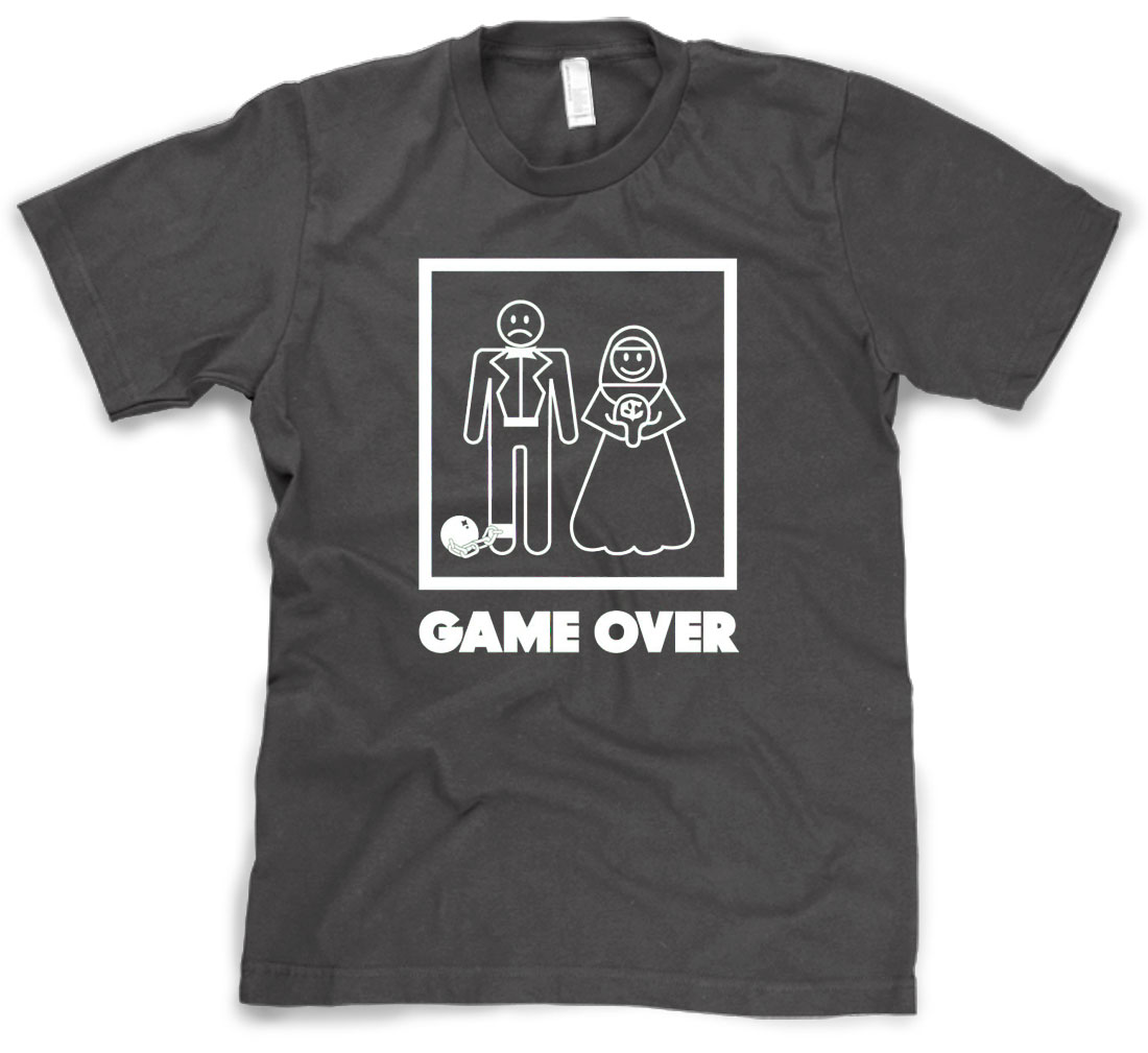 Mens Game Over T Shirt Funny Wedding