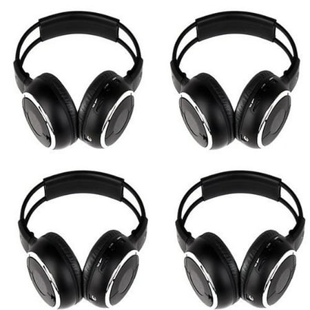 Four Pack of Two Channel Folding Adjustable Best Studio Headphones for TV Universal Rear Entertainment System Infrared Headphones Auxiliary Cords Wireless IR DVD Player Head Phones for Car Video