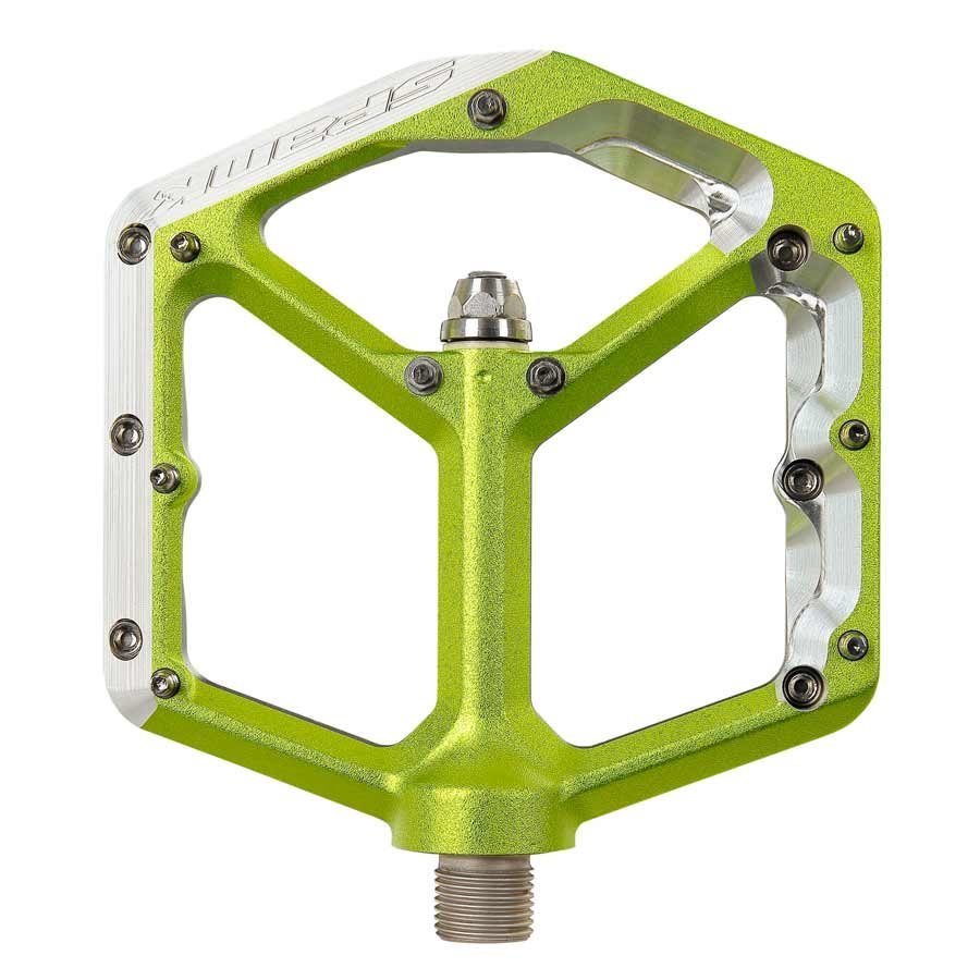 Spank, Oozy Trail, Platform Pedals, Alloy body, Steel axle, 100mm x 100mm, Green