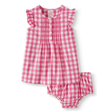 Flutter Sleeve Woven Dress & Diaper Cover, 2pc Set (Baby Girls)