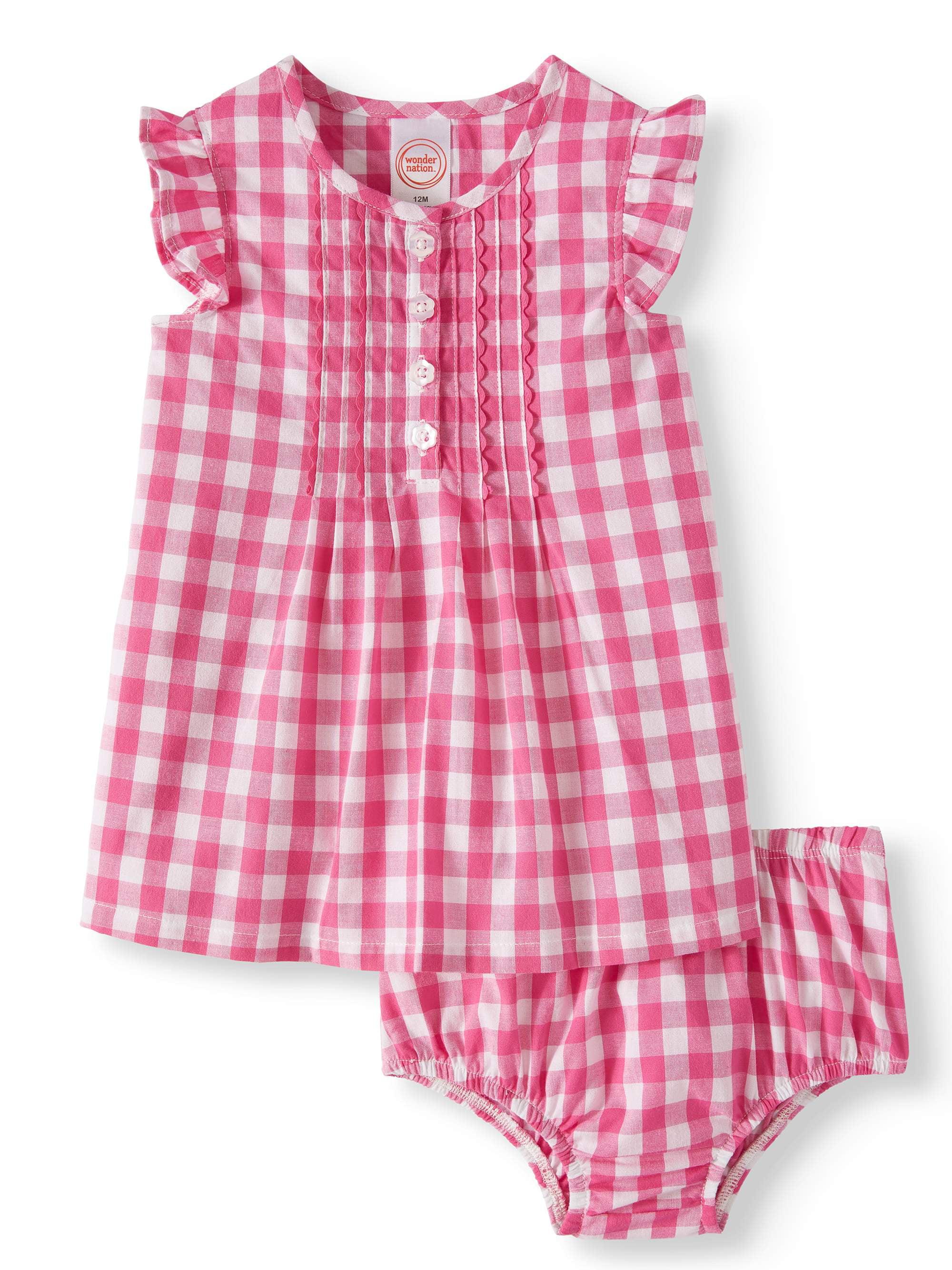 Flutter Sleeve Woven Dress & Diaper Cover, 2pc Set (Baby Girls)