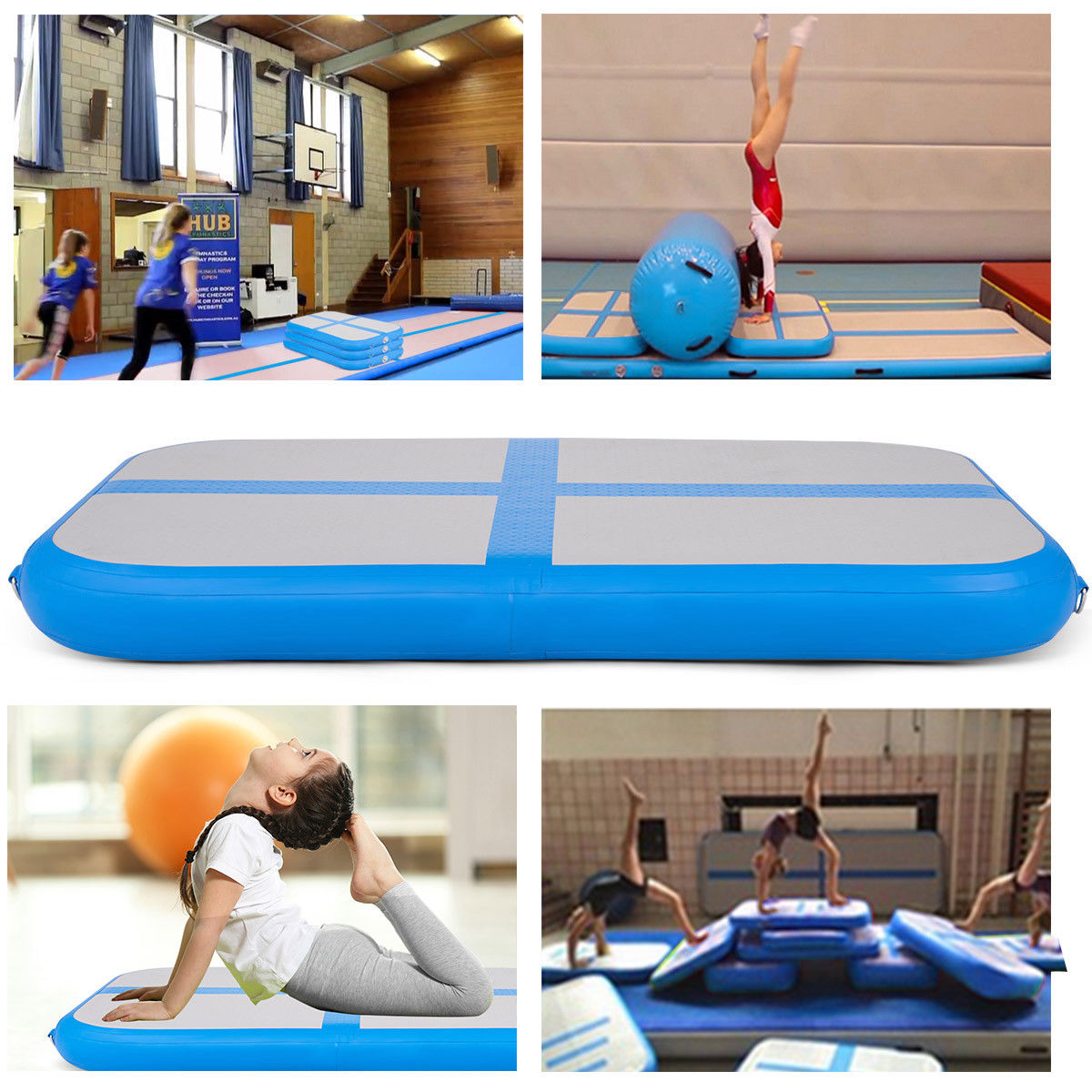 3.3' Inflatable Gymnastics Mat Air Track Floor Mat Water Buoyancy w/ Pump Blue - image 2 de 10
