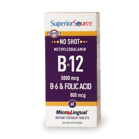 Superior Source No Shot Methylcobalamin Vitamin B12 5000 mcg /B6 2 mg/Folic Acid 800 mcg , MicroLingual® Tablets, 60 Count ()
