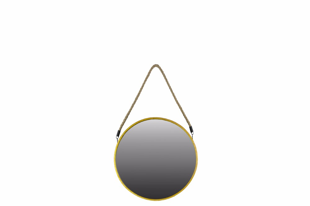 Metal Round Mirror with Rope Hanger Small Gold Benzara by Benzara