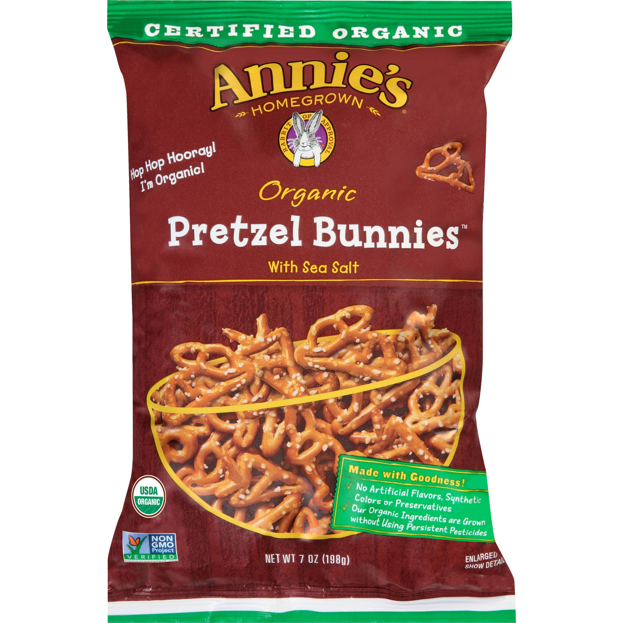 Annie's Homegrown Organic Pretzel Bunnies, 7 oz, Pack of 12