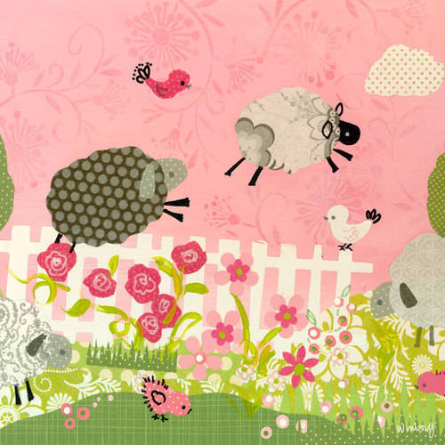 Oopsy Daisy - Counting Sheep - Pink Canvas Wall Art 10x10, Winborg Sisters